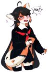 1girl ahoge animal_ears animal_nose black_fur black_hair black_legwear black_serafuku black_skirt blush cat cat_ears cat_girl cat_tail commentary_request cowboy_shot eyebrows_visible_through_hair fangs full_body furry grey_eyes highres holding_tail korean_commentary neckerchief open_mouth orange_fur orange_hair original pleated_skirt red_neckwear ressue_(gomgom) school_uniform serafuku skirt solo tail thigh-highs white_fur