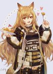 1girl :d animal_ears arknights biscuit_(bread) black_dress black_legwear ceobe_(arknights) cowboy_shot csyday dog_ears dog_girl dog_tail dress fang fork holding holding_fork jacket long_hair long_sleeves looking_at_viewer mini_flag multiple_straps open_clothes open_jacket open_mouth orange_hair plate puffy_sleeves red_eyes smile solo tail thigh-highs two-tone_jacket zettai_ryouiki