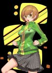 1girl absurdres bike_shorts black_background black_shorts bob_cut breasts brown_eyes brown_hair cardigan chestnut_mouth clenched_hands glasses green_cardigan grey_skirt highres huai_diao_de_zongzi long_sleeves miniskirt open_mouth persona persona_4 pleated_skirt print_skirt satonaka_chie shiny shiny_hair short_hair short_shorts shorts skirt small_breasts solo standing yellow-framed_eyewear yellow_background