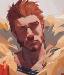 1boy blue_eyes brown_hair close-up cosplay face facial_hair fate/grand_order fate_(series) goatee highres iskandar_(fate) iskandar_(fate)_(cosplay) jinhallz looking_at_viewer male_focus manly muscle napoleon_bonaparte_(fate/grand_order) portrait shaded_face short_hair sideburns simple_background solo
