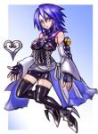 1girl aqua_(kingdom_hearts) bare_shoulders black_legwear blue_eyes blue_hair breasts closed_mouth detached_sleeves fingerless_gloves full_body gloves highres kingdom_hearts kingdom_hearts_birth_by_sleep looking_at_viewer oomasa_teikoku short_hair solo thigh-highs