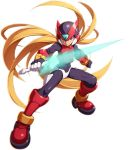 1boy android black_eyes blonde_hair capcom energy_sword fighting_stance full_body helmet highres holding holding_weapon long_hair male_focus mizuno_keisuke rockman rockman_x rockman_x_dive rockman_zero solo sword transparent_background weapon zero_(rockman)
