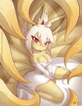 1girl ahoge animal_ears animal_nose artist_name bare_shoulders blonde_hair blush breasts bright_pupils collarbone commentary english_commentary eyebrows_visible_through_hair fox_ears fox_tail gen_1_pokemon hair_between_eyes japanese_clothes large_breasts long_hair long_sleeves looking_at_viewer multiple_tails ninetales original patreon_logo patreon_username pokemon ponytail red_eyes ribbon-trimmed_sleeves ribbon_trim rilex_lenov shizu_(rilex_lenov) solo tail tsurime watermark web_address white_pupils yellow_fur