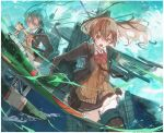 3girls aqua_eyes aqua_hair bangs blazer blonde_hair border bow bowtie breasts brown_eyes brown_hair brown_jacket brown_skirt closed_mouth clouds dated day e16a_zuiun fairy_(kantai_collection) frilled_skirt frills goggles goggles_on_head hair_between_eyes hair_ornament hairclip highres jacket kantai_collection kumano_(kantai_collection) long_hair long_sleeves multiple_girls nagasawa_tougo open_mouth outdoors ponytail red_neckwear rigging school_uniform skirt sky suzuya_(kantai_collection) thigh-highs twitter_username water white_border