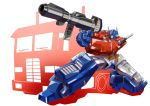 1boy aiming autobot blue_eyes commission ground_vehicle gun heyzan highres holding holding_gun holding_weapon mecha motor_vehicle no_humans optimus_prime solo transformers truck weapon white_background