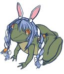 animal_ears animalization blue_hair braid brups_tv english_commentary frog highres hololive no_humans orange_eyes parody rabbit_ears sketch twin_braids usada_pekora what white_background