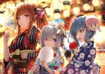 3girls :3 :d ahoge amane_kanata anemachi blue_eyes blue_hair braid candy character_mask cotton_candy dragon_horns eating fan festival fingerless_gloves food fruit gloves grey_hair hair_ornament halo highlights highres hololive horns hoshimachi_suisei japanese_clothes ken123456 kimono kiryuu_coco lantern mask mouth_hold multicolored_hair multiple_girls open_mouth orange orange_hair paper_fan paper_lantern pointy_ears ponytail short_hair side_ponytail smile striped striped_kimono violet_eyes virtual_youtuber