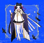 1girl :d animal_ears bangs bird black_hair blue_background blue_eyes blunt_bangs blush border crescent crescent_print flower front-seamed_legwear full_body furisode geta hair_flower hair_ornament hime_cut japanese_clothes kimono long_hair long_sleeves mp0612 open_mouth original outside_border outstretched_arms petticoat rope seamed_legwear short_kimono sidelocks smile solo standing star_(symbol) tassel thigh-highs very_long_hair white_legwear wing_print zettai_ryouiki