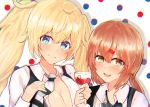 2girls alcohol alternate_costume black_neckwear blonde_hair blue_eyes bow bowtie breasts brown_eyes brown_hair commentary_request cup drinking_glass gambier_bay_(kantai_collection) hair_ornament hairclip kantai_collection large_breasts long_hair looking_at_viewer low_twintails miyako_(00727aomiyako) multiple_girls open_clothes polka_dot polka_dot_background shirt tashkent_(kantai_collection) twintails upper_body white_background white_shirt wine wine_glass