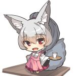 1girl :d animal_ear_fluff animal_ears apron blush chibi collared_shirt commentary_request cup dress_shirt drinking_glass fox_ears fox_girl fox_tail frilled_apron frills full_body grey_hair holding holding_tray long_hair long_sleeves looking_at_viewer open_mouth original pink_apron pleated_skirt ponytail red_eyes red_skirt shirt simple_background skirt smile solo standing tail tray white_background white_shirt wide_sleeves yuuji_(yukimimi)