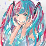 1girl absurdres blue_eyes blue_hair blue_nails confetti hair_ornament hands_up hatsune_miku highres huge_filesize long_hair looking_at_viewer multicolored_hair pink_hair richard_(ri39p) simple_background smile solo twintails upper_body vocaloid