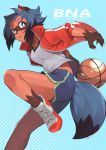 1girl absurdres animal_ears arm_behind_back basketball black_hair blue_background blue_hair brand_new_animal breasts brown_fur collarbone commentary_request from_side full_body furry gym_shorts highres jacket kagemori_michiru kamekiti knee_up looking_at_viewer medium_breasts multicolored_hair open_clothes open_jacket open_mouth pink_eyes polka_dot polka_dot_background raccoon_ears raccoon_girl raccoon_tail red_jacket shirt shoes short_hair short_shorts shorts smile sneakers solo sportswear tail track_jacket two-tone_hair white_shirt