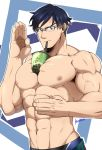1boy abs bara between_pecs blue_hair boku_no_hero_academia bubble_tea_challenge chest glasses highres iida_tenya kuroshinki male_focus muscle navel nipples object_on_pectorals pectorals shirtless short_hair solo upper_body veins