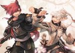 1girl 2boys alisaie_leveilleur animal_ears arm_up astrologian_(final_fantasy) bangs bare_shoulders black_vs_white blue_eyes bracelet card cat_boy cat_ears cat_tail coat elezen elf final_fantasy final_fantasy_xiv fist_bump g'raha_tia gloves grey_hair hair_over_one_eye highres holding holding_card jewelry long_hair long_sleeves looking_at_another mihira_(tainosugatayaki) miqo'te multiple_boys open_mouth pants pointy_ears red_eyes red_mage redhead rope scarf shirt smile tail tarot urianger_augurelt weapon