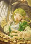 1girl :d absurdres day dress green_dress green_hair green_nails hair_ornament highres indoors keyboard long_sleeves looking_at_viewer open_mouth original paper phone pointy_ears quill shann_pierre smile typewriter window yellow_eyes