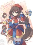 1girl android beret blush breasts brown_hair chibi dress green_eyes gun hair_between_eyes hands_in_hair hat holding holding_weapon iris_(rockman_x) large_breasts long_hair low-tied_long_hair machine_gun military_hat open_mouth rento_(rukeai) rockman rockman_x rockman_x_dive simple_background smile solo_focus translation_request very_long_hair weapon x_(rockman) zero_(rockman)