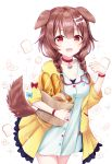 1girl :3 :d animal_ears bag baguette braid bread breasts brown_eyes brown_hair chiutake_mina clenched_hand collar collarbone croissant dog_ears dress fangs food food_background hair_between_eyes highres hololive inugami_korone long_hair medium_breasts melon_bread open_mouth paper_bag smile solo sparkle twin_braids virtual_youtuber white_background white_dress