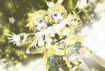 119 1boy 1girl belt belt_buckle blonde_hair blue_eyes bow brother_and_sister buckle detached_sleeves headset heart highres jpeg_artifacts kagamine_len kagamine_rin looking_at_viewer open_mouth short_hair siblings smile star_(symbol) twins vocaloid white_legwear