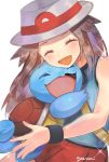 1girl :d aqua_shirt black_wristband blush brown_hair bucket_hat closed_eyes commentary_request eyelashes gen_1_pokemon hat leaf_(pokemon) long_hair open_mouth pleated_skirt pokemon pokemon_(creature) pokemon_(game) pokemon_frlg red_skirt shirt signature skirt sleeveless sleeveless_shirt smile sparkle squirtle tongue white_headwear wristband yasaikakiage