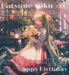1girl bangs character_name dated dress feet_out_of_frame flower flower_shop green_eyes green_hair hair_over_shoulder hair_ribbon hairband hatsune_miku highres holding holding_flower long_hair maccha_(mochancc) plant potted_plant red_dress red_ribbon ribbon shop sleeves_past_elbows solo standing twintails very_long_hair vocaloid yellow_flower
