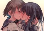 2girls black_hair blush brown_hair close-up closed_eyes commentary grey_background hand_in_another's_hair highres hug kiss long_hair miyafuji_yoshika multiple_girls organizer00 sailor short_hair simple_background strike_witches sweat world_witches_series yamakawa_michiko yuri