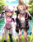 2girls abigail_williams_(fate/grand_order) abigail_williams_(swimsuit_foreigner)_(fate) animal_hood bangs bare_shoulders bikini black_bow black_cat black_gloves black_jacket black_legwear blonde_hair blue_eyes blue_sky blush bow braid braided_bun breasts cat closed_mouth double_bun dress_swimsuit elbow_gloves fate/grand_order fate_(series) forehead gloves highres hood illyasviel_von_einzbern illyasviel_von_einzbern_(swimsuit_archer)_(fate) jacket keyhole lake leaning_forward long_hair looking_at_viewer mitre multiple_bows multiple_girls nyaa_kitsune off_shoulder open_clothes open_jacket open_mouth orange_bow parted_bangs partly_fingerless_gloves paw_pose pink_bikini raincoat red_eyes see-through sidelocks single_thighhigh sky small_breasts smile swimsuit thigh-highs thighs tree twintails very_long_hair wavy_mouth white_hair white_headwear white_swimsuit