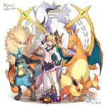 1girl ahoge arceus black_gloves black_skirt blazer blonde_hair bow bowtie breasts charizard closed_mouth commentary copyright_name crossover double-breasted expressionless eyebrows_visible_through_hair fingerless_gloves flareon frilled_skirt frills full_body gen_1_pokemon gen_4_pokemon gen_7_pokemon gloves growlithe hand_in_hair hand_on_hip highres jacket litten long_hair looking_at_viewer lucario medium_breasts miniskirt mythical_pokemon nijisanji ogamikeito poke_ball pokemon pokemon_(creature) pokemon_(game) red_footwear school_uniform shirt shoes simple_background skirt standing takamiya_rion thigh-highs thighs twintails uniform violet_eyes virtual_youtuber white_background white_jacket white_legwear white_neckwear white_shirt zettai_ryouiki