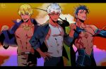 3boys abs alternate_costume archer blonde_hair blue_hair brown_eyes chest covered_abs cu_chulainn_(fate)_(all) cu_chulainn_(fate/grand_order) dark_skin dark_skinned_male earrings eriko-(erk_ecory) fate/grand_order fate_(series) fishing_rod gilgamesh gilgamesh_(caster)_(fate) hand_on_hip highres jewelry male_focus multiple_boys muscle nipples pectorals red_eyes shirtless summer_casual_(fate/grand_order) tank_top toned toned_male undressing white_hair