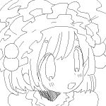 1girl :d animated animated_gif bangs close-up eyebrows_visible_through_hair face frills from_side greyscale hair_between_eyes hair_bobbles hair_ornament looking_away lowres maid_headdress melting monochrome open_mouth original portrait rururoru short_hair smile solo surreal tareme thick_eyebrows