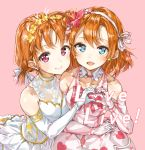 2girls :d absurdres ahoge alternate_hairstyle arm_around_waist bangs blue_eyes collarbone copyright_name detached_collar dress earrings elbow_gloves eyebrows_visible_through_hair flower gloves hair_flower hair_ornament hair_ribbon heart heart_hands heart_print highres holding_hands jewelry kousaka_honoka looking_at_viewer love_live! love_live!_school_idol_project love_live!_sunshine!! multiple_girls open_mouth pink_background pink_dress pink_flower pink_gloves ribbon short_hair side_bun sidelocks simple_background smile takami_chika takenoko_no_you thank_you_friends!! twintails violet_eyes white_dress white_gloves white_ribbon yellow_flower