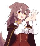 1girl :3 :d animal_ears bangs blush bone_hair_ornament braid brown_eyes brown_hair buttons cape cartoon_bone dog_ears dog_girl dog_tail eyebrows_visible_through_hair fangs fingers hair_between_eyes hair_down hair_ornament hair_ribbon hairclip high-waist_skirt highres hololive inugami_korone long_hair long_sleeves looking_at_viewer open_mouth raised_eyebrows red_skirt ribbon shirt side_braid side_braids simple_background skirt smile solo sugyon tail twin_braids upper_body virtual_youtuber white_background white_shirt yellow_ribbon