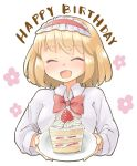 1girl alice_margatroid arnest bangs blonde_hair blush bow bowtie cake cake_slice closed_eyes collared_shirt eyebrows_visible_through_hair flower food fruit hairband happy_birthday highres holding holding_plate lolita_hairband long_sleeves open_mouth plate red_bow shirt short_hair smile strawberry strawberry_cake touhou white_background white_shirt