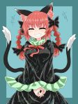 1girl animal_ears bangs black_bow black_dress black_tail blue_background bow braid cat_ears cat_tail chups closed_eyes dress extra_ears eyebrows_visible_through_hair fingernails frilled_dress frilled_shirt_collar frilled_sleeves frills hair_bow highres kaenbyou_rin laughing long_fingernails long_sleeves multiple_tails nekomata open_mouth red_nails red_neckwear redhead short_hair simple_background smile solo tail teeth touhou twin_braids two_tails v_arms wide_sleeves