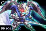 00_raiser character_name chibi commentary_request dual_wielding english_text glowing glowing_eyes gn_drive green_eyes gundam gundam_00 holding king_of_unlucky mecha mechanical_wings no_humans sd_gundam solo sword v-fin weapon wings