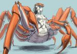 1girl abs bearclaw blue_background blue_eyes breasts carapace commentary_request completely_nude crab_girl expressionless extra_legs insect_girl looking_to_the_side monster_girl nude original pincers sketch solo standing
