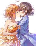 2girls ahoge arm_hug bangs blue_bow blue_eyes blue_jacket blue_neckwear blue_suit bow bowtie closed_eyes collarbone dress flower formal grey_hair highres jacket jewelry kiss long_sleeves love_live! love_live!_sunshine!! multiple_girls orange_dress orange_hair ring short_hair signature simple_background strapless strapless_dress suit takami_chika takenoko_no_you watanabe_you wedding_band white_background white_flower wife_and_wife yuri