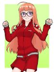 1girl ahoge bangs black-framed_eyewear blunt_bangs breasts brown_hair cowboy_shot eyebrows_visible_through_hair glasses green_background grin highres jacket long_hair long_sleeves looking_at_viewer outside_border persona persona_5 red_jacket red_shorts renefu sakura_futaba shiny shiny_hair short_shorts shorts sketch sleeves_past_wrists small_breasts smile solo standing straight_hair track_jacket two-tone_background very_long_hair violet_eyes white_background wing_collar