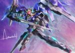 00_raiser afterimage amasaki_yusuke commentary dual_wielding flying gn_drive gundam gundam_00 holding mecha mechanical_wings no_humans signature solo sword weapon wings