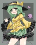 1girl bangs black_headwear bow bright_pupils chups eyebrows_visible_through_hair floral_print frilled_shirt_collar frilled_skirt frilled_sleeves frills green_hair green_skirt grey_background hat hat_ribbon heart heart_of_string highres jewelry komeiji_koishi long_sleeves looking_at_viewer medium_hair open_mouth ribbon rose_print shirt simple_background skirt sleeves_past_wrists smile solo third_eye touhou yellow_bow yellow_ribbon yellow_shirt yellow_sleeves