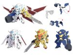 00_gundam absurdres arm_cannon blue_eyes chibi crossover digimon fusion gattai gn_drive gundam gundam_00 gundam_astraea_type-f gundam_exia highres holding holding_sword holding_weapon mecha mechanization metalgarurumon multiple_views no_humans omegamon sword v-fin wargreymon weapon white_background zhu_fun