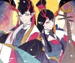 1boy 1girl architecture biwa_lute black_hair blue_eyes chaninin east_asian_architecture fish horns instrument long_hair looking_at_viewer lute_(instrument) pixiv_fantasia pixiv_fantasia_age_of_starlight red_horns red_pupils signature smile upper_body wide_sleeves