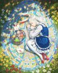 1girl absurdres animal_ears basket blue_dress day dress easter_egg egg flower from_above full_body highres huge_filesize long_hair long_sleeves lying on_side original pantyhose rabbit rabbit_ears red_footwear shann_pierre silver_hair sleeping solo white_legwear