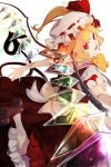 1girl blonde_hair bow crystal fang flandre_scarlet highres laevatein looking_at_viewer maimuro medium_hair open_mouth outstretched_arms puffy_short_sleeves puffy_sleeves red_eyes red_vest shirt short_sleeves skirt slit_pupils solo touhou vest white_background white_shirt wings