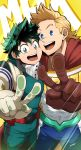 2boys blonde_hair blue_eyes bodysuit boku_no_hero_academia bulge cheek-to-cheek covered_abs covered_navel foreshortening freckles gloves green_bodysuit green_eyes green_hair highres kuroshinki male_focus midoriya_izuku multiple_boys muscle open_mouth short_hair toogata_mirio upper_body v white_gloves