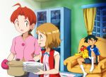 2boys 3girls absurdres ahoge ash_ketchum blue_jacket blush bonnie_(pokemon) brown_eyes brown_hair chair clemont_(pokemon) commentary_request curtains delia_ketchum eye_contact eyelashes gen_1_pokemon greatestwashi hair_tie highres holding holding_plate holding_pot indoors jacket looking_at_another looking_in_window mittens mother_and_son multiple_boys multiple_girls open_mouth pikachu pink_mittens plate pokemon pokemon_(anime) pokemon_(creature) pokemon_on_leg pokemon_xy_(anime) ponytail pot serena_(pokemon) shiny shiny_hair short_hair short_sleeves shorts sitting skirt socks tied_hair tongue white_legwear window