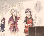3girls ahoge akebono_(kantai_collection) akishimo_(kantai_collection) alternate_costume anger_vein apron arm_warmers asymmetrical_hair bag bandana bangs black_legwear black_skirt blue_jacket blunt_bangs brown_eyes brown_hair commentary_request cowboy_shot feet_out_of_frame gloves gradient_hair grey_hair grill hair_ornament hairclip happi index_finger_raised jacket japanese_clothes kantai_collection kishinami_(kantai_collection) leaf_hair_ornament long_hair long_sleeves miroku_san-ju multicolored_hair multiple_girls official_alternate_costume open_mouth pants pleated_skirt red_apron sarashi short_hair short_hair_with_long_locks shorts silver_hair skirt standing thigh-highs translation_request wavy_hair white_gloves white_pants white_shorts