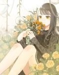 1girl absurdres black_shirt brown_eyes brown_hair flower highres holding holding_flower knees_up marigold orange_nails original ornament shirt sitting solo un_(un0044)