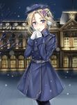 1girl belt beret blonde_hair blue_coat blue_eyes blush character_request coat eyebrows_visible_through_hair gloves hair_ornament hat headphones highres holding_hands looking_at_viewer medium_hair open_eyes open_mouth snowflakes solo star_(symbol) star_hair_ornament warship_girls_r white_gloves winter_clothes winter_coat winter_gloves yuemanhuaikong