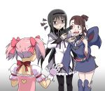 3girls akemi_homura arm_around_neck black_hair black_headband black_legwear blue_footwear bow brown_hair commentary crossover dress frilled_dress frills from_behind gloves gradient gradient_background gun gun_to_head hair_bow hand_up hat hat_removed headband headwear_removed highres holding holding_gun holding_weapon kagari_atsuko kaname_madoka keihiga little_witch_academia long_hair long_sleeves luna_nova_school_uniform magical_girl mahou_shoujo_madoka_magica multiple_girls open_mouth pantyhose pink_bow pink_hair red_bow red_eyes school_uniform shaded_face short_sleeves short_twintails signature soul_gem squiggle surprised sweat tears trembling twintails upper_body very_long_hair violet_eyes watermark weapon white_background white_dress white_gloves wide_sleeves witch witch_hat