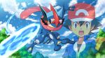 1boy ash-greninja ash_ketchum bangs baseball_cap black_gloves black_hair blue_jacket brown_eyes clenched_hand clouds commentary_request day fingerless_gloves foliage full_body gen_6_pokemon gloves greninja hair_between_eyes hat highres incoming_attack jacket open_mouth outdoors pokemoa pokemon pokemon_(anime) pokemon_(creature) pokemon_xy_(anime) popped_collar sky sparkle teeth tongue upper_teeth water